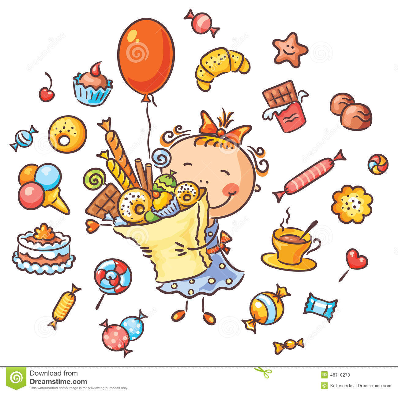 Happy Girl With Sweets Stock Vector Image Of Character