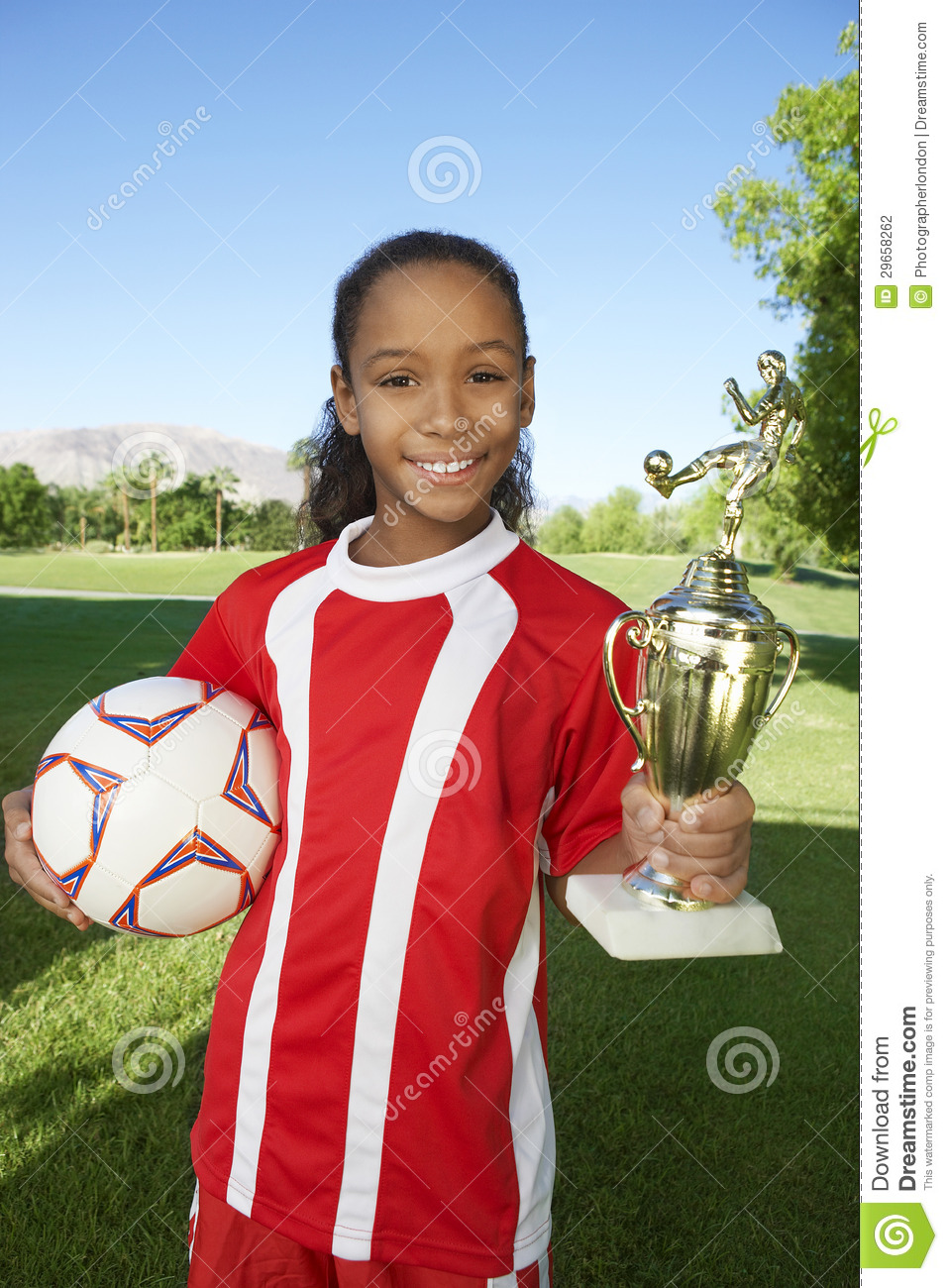 Happy Girl With Trophy