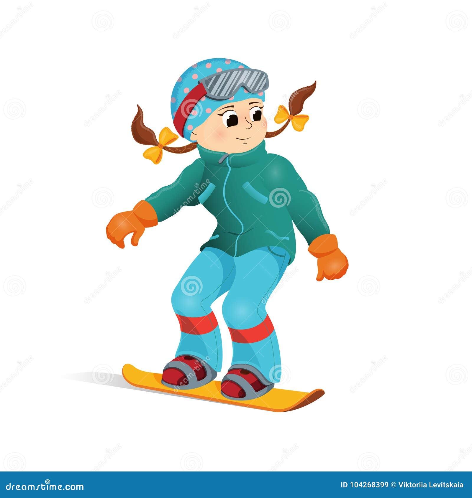 530ab52c Happy Funny Girl Snowboard Downhill, Winter Sport Stock Vector ...