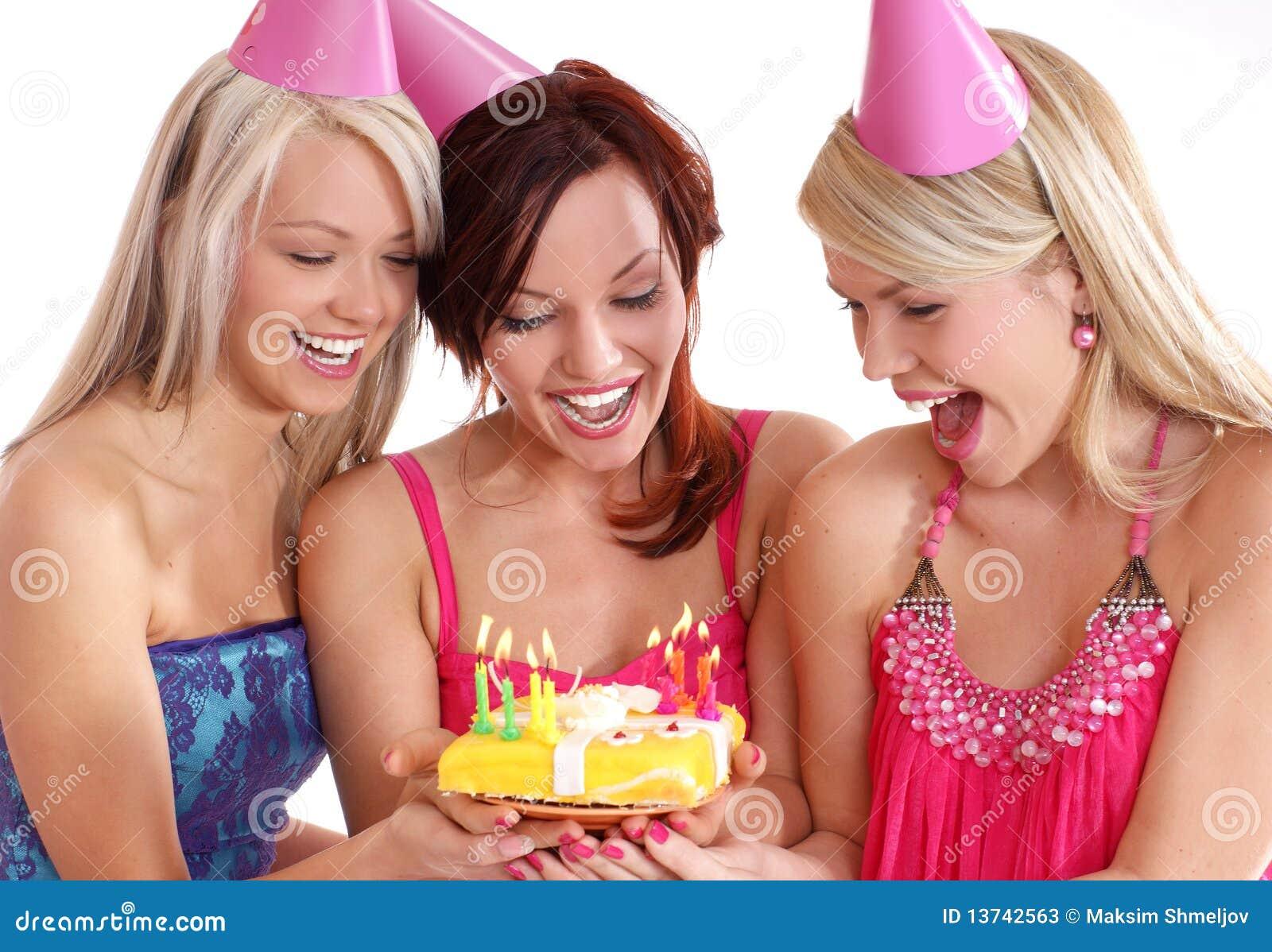 Happy girls having a Birthday party