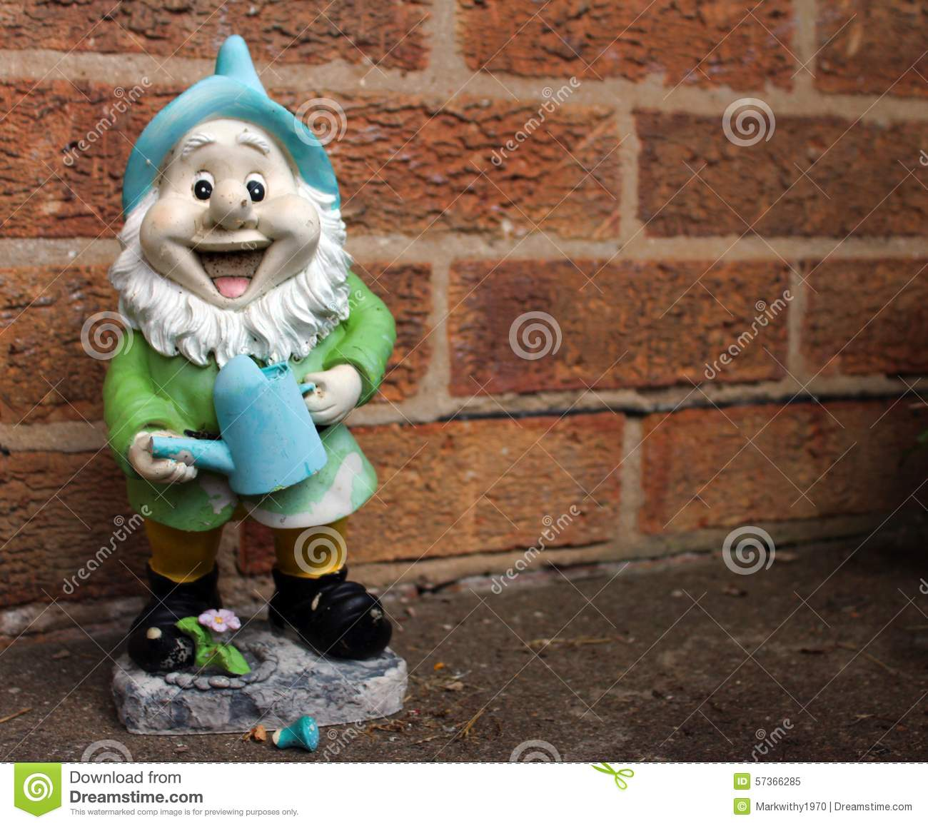 Happy gnome stock image. Image of watering, gnome, standing - 57366285