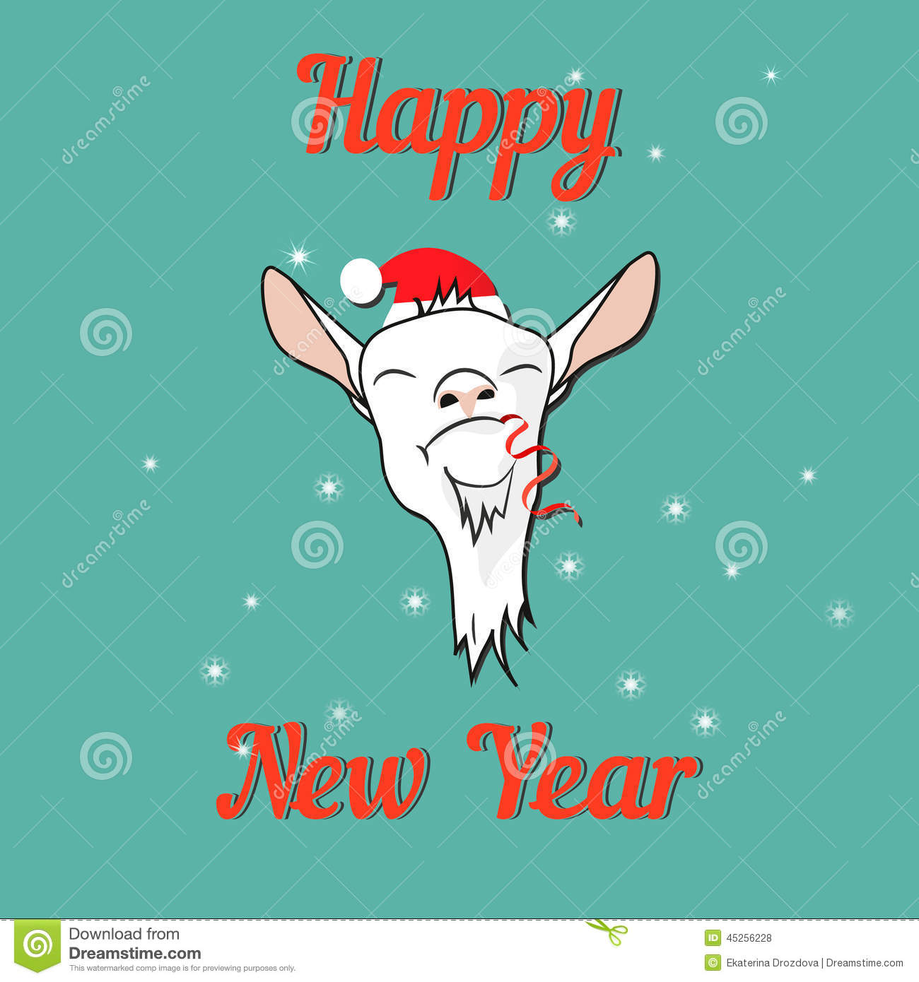Happy Goat On New Year Card Stock Vector Illustration Of Creative