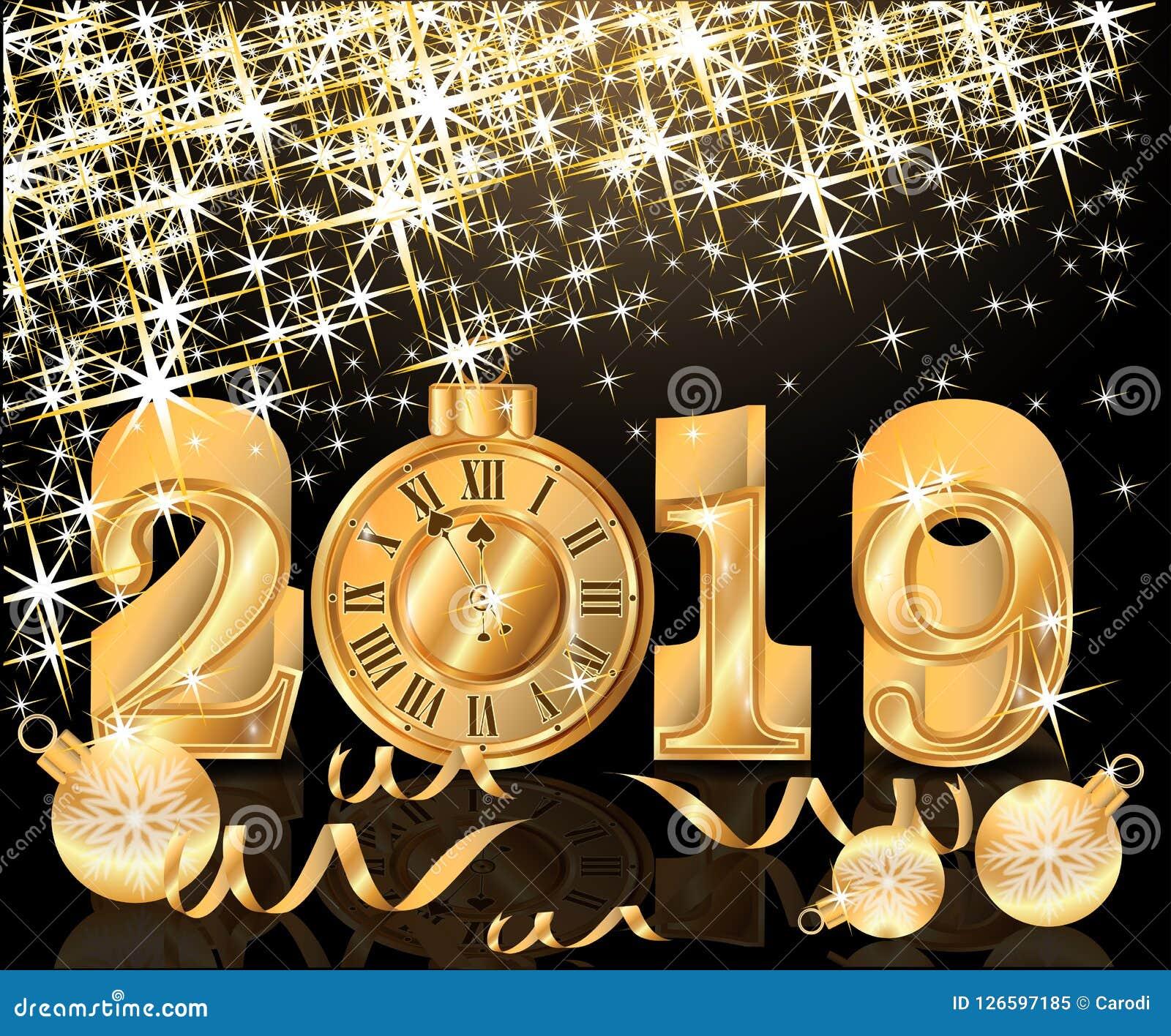 Happy Golden New 2019 Year Wallpaper Stock Vector