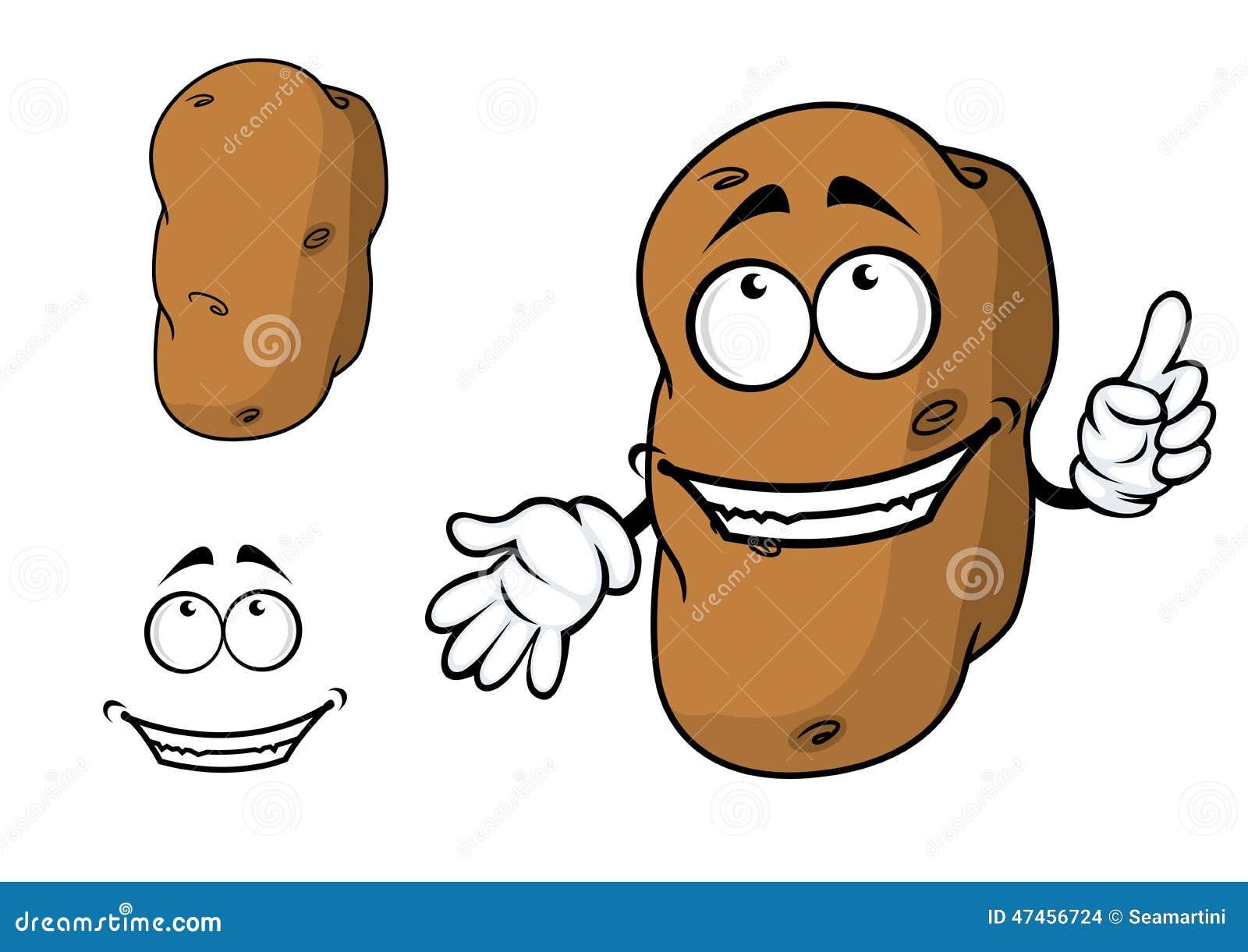 Cartoon Characters 3 Fingers : Happy goofy cartoon potato character stock vector image