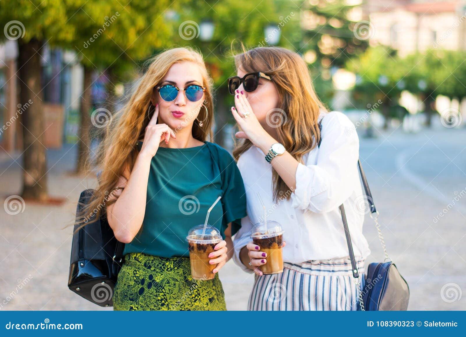 Happy Gossip Girls Walking In The City Stock Image - Image