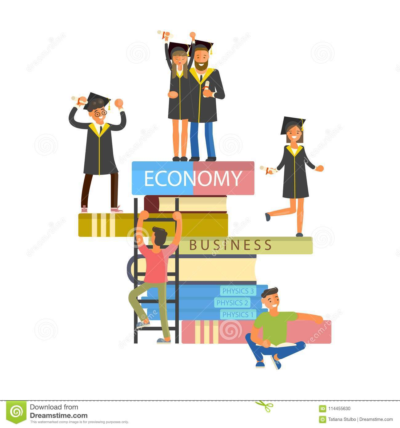 Happy graduate characters stock vector. Illustration of gown - 114455630