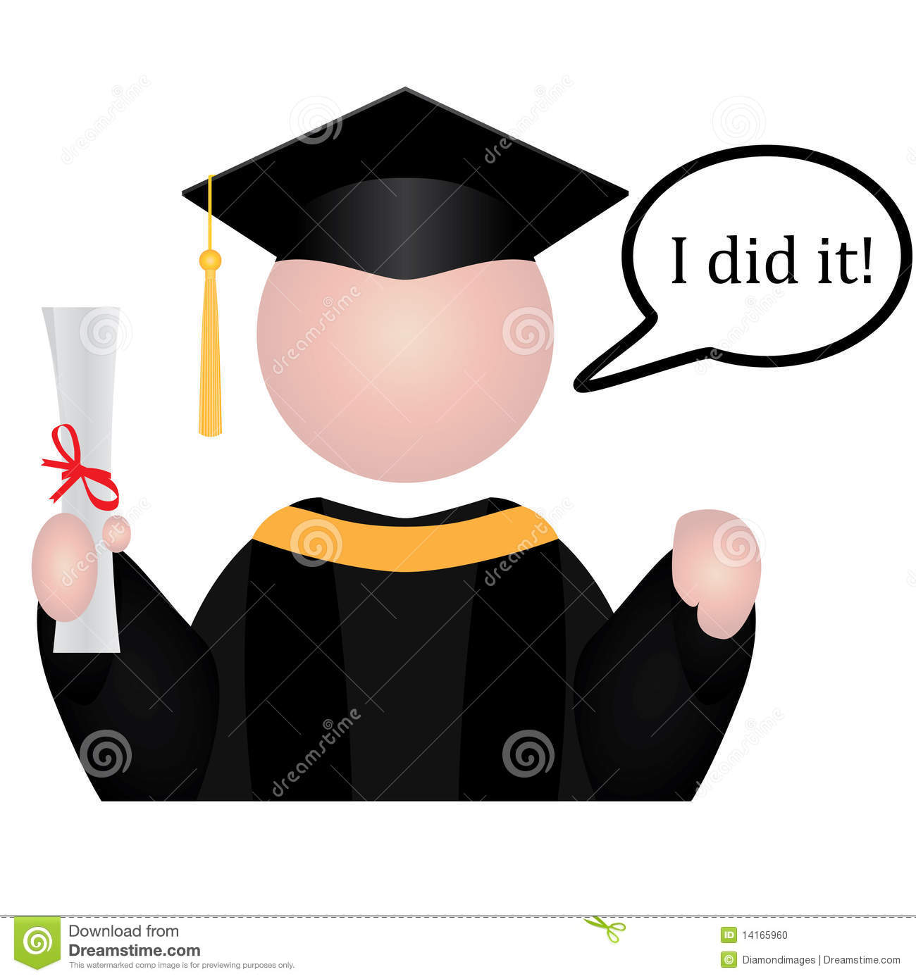 Graduation student icon with speech bubble saying I did it!