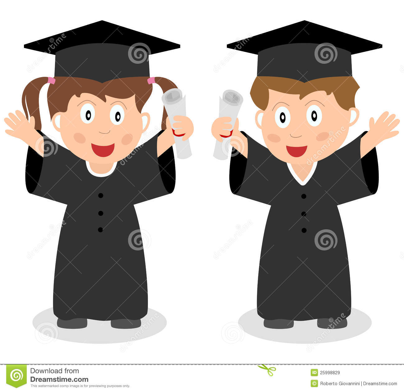... graduated kids with graduation hat and diploma. Eps file available