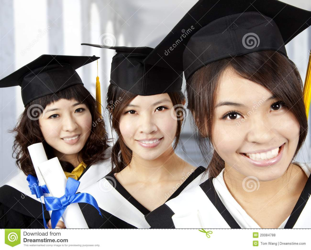 Happy graduation asian girls