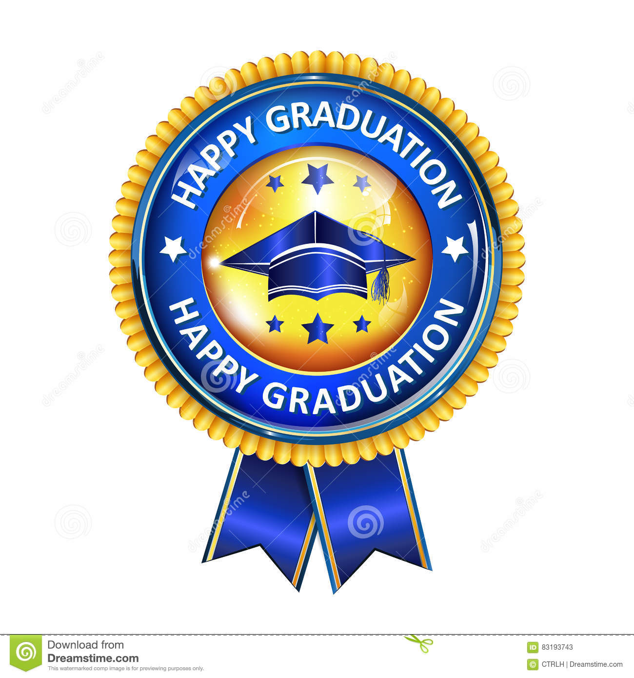Happy Graduation Elegant Award Ribbon With Cap Stock