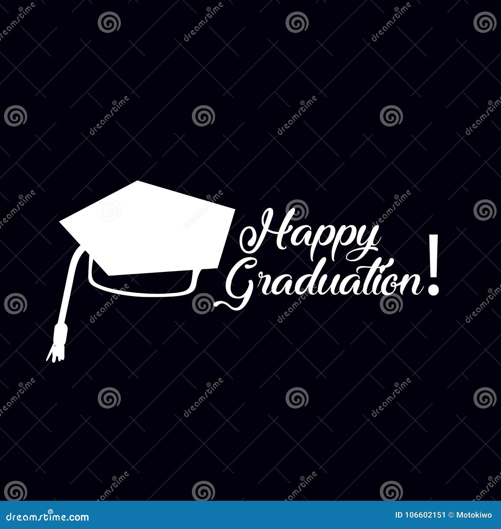 Happy Graduation Greeting Card Design Stock Illustration