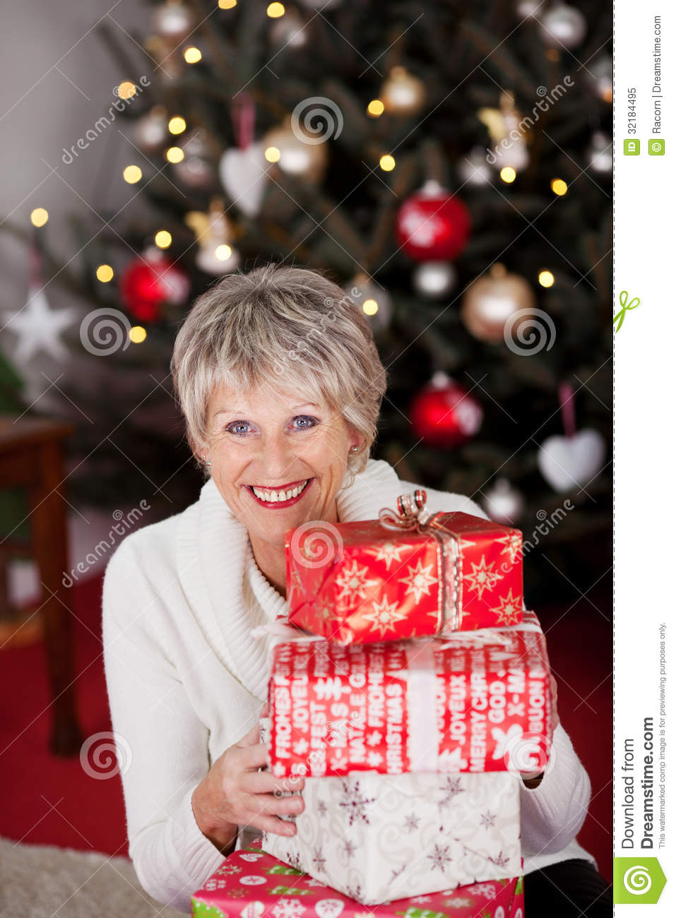 download happy grandmother with christmas gifts stock image image of holiday home 32184495