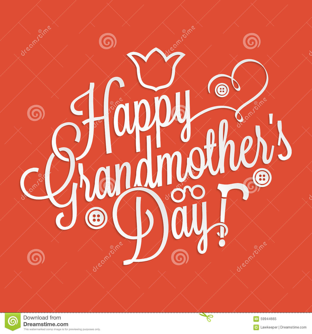 Happy Grandmother's Day Lettering Stock Vector - Image: 59944665
