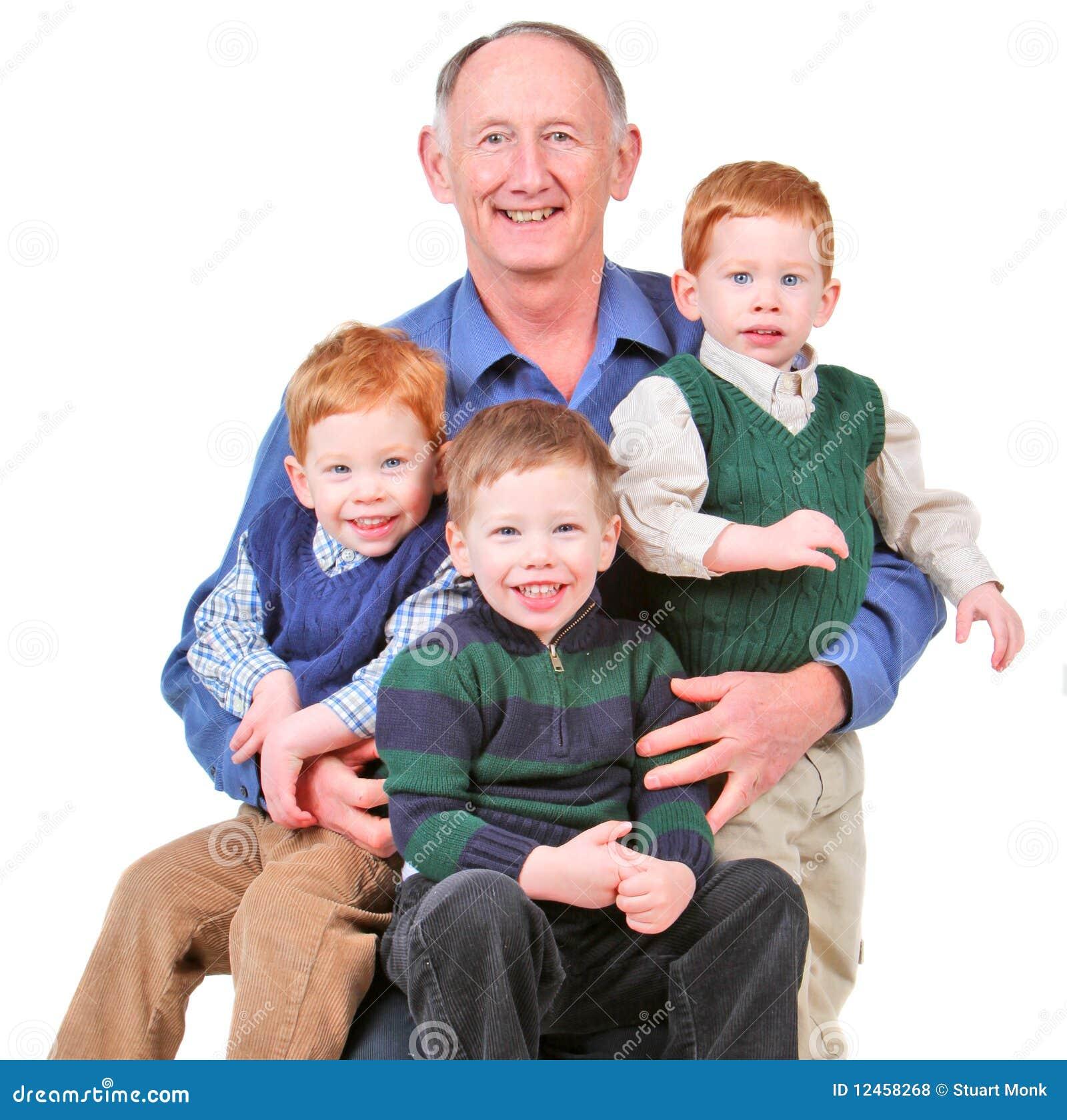 Grandpa With Kids Vector Illustration Cartoondealer Com
