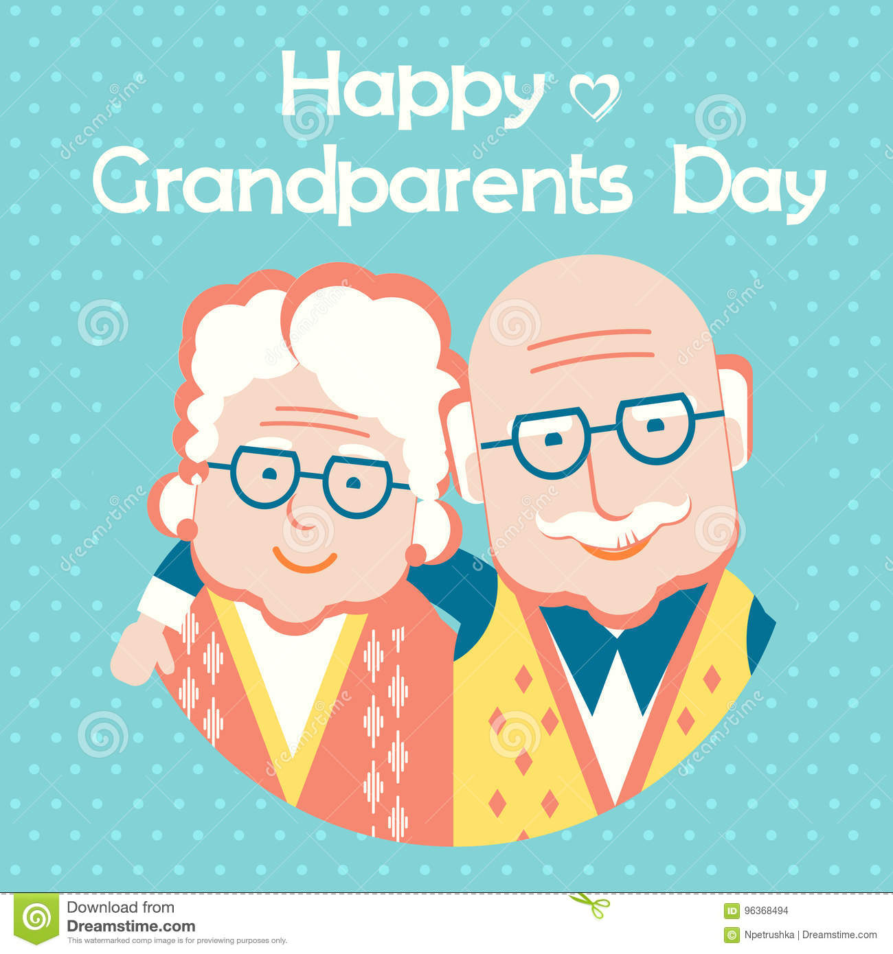 Happy Grandparents Day card with text.Vector flat style