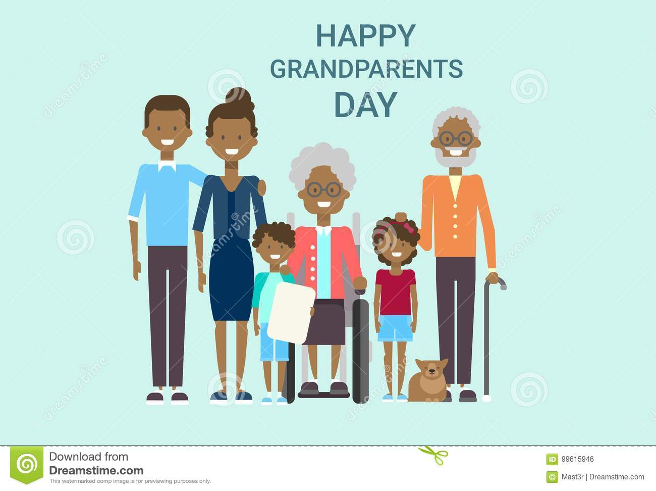 Happy grandparents day greeting card banner big african american happy grandparents day greeting card banner big african american family together royalty free vector kristyandbryce Images