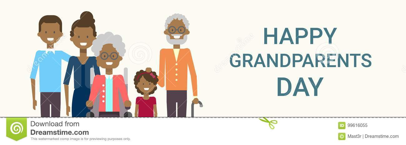 Happy Grandparents Day Greeting Card Banner Big African American Family Together