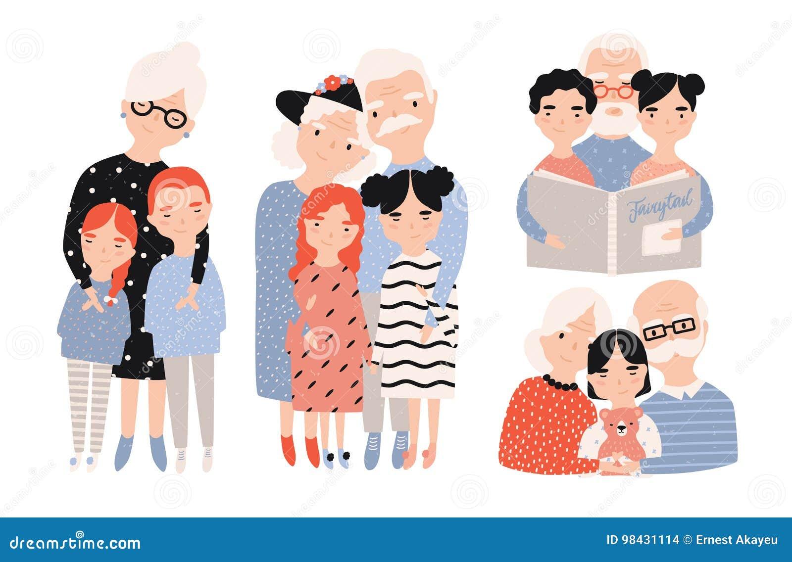 Happy grandparents with grandchildren set. Hand drawn cartoon illustrations collection.