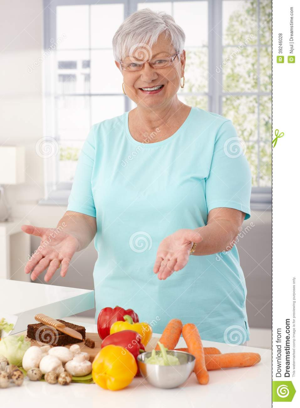 Happy Granny Preparing Healthy Food Stock Photo - Image of aged ...