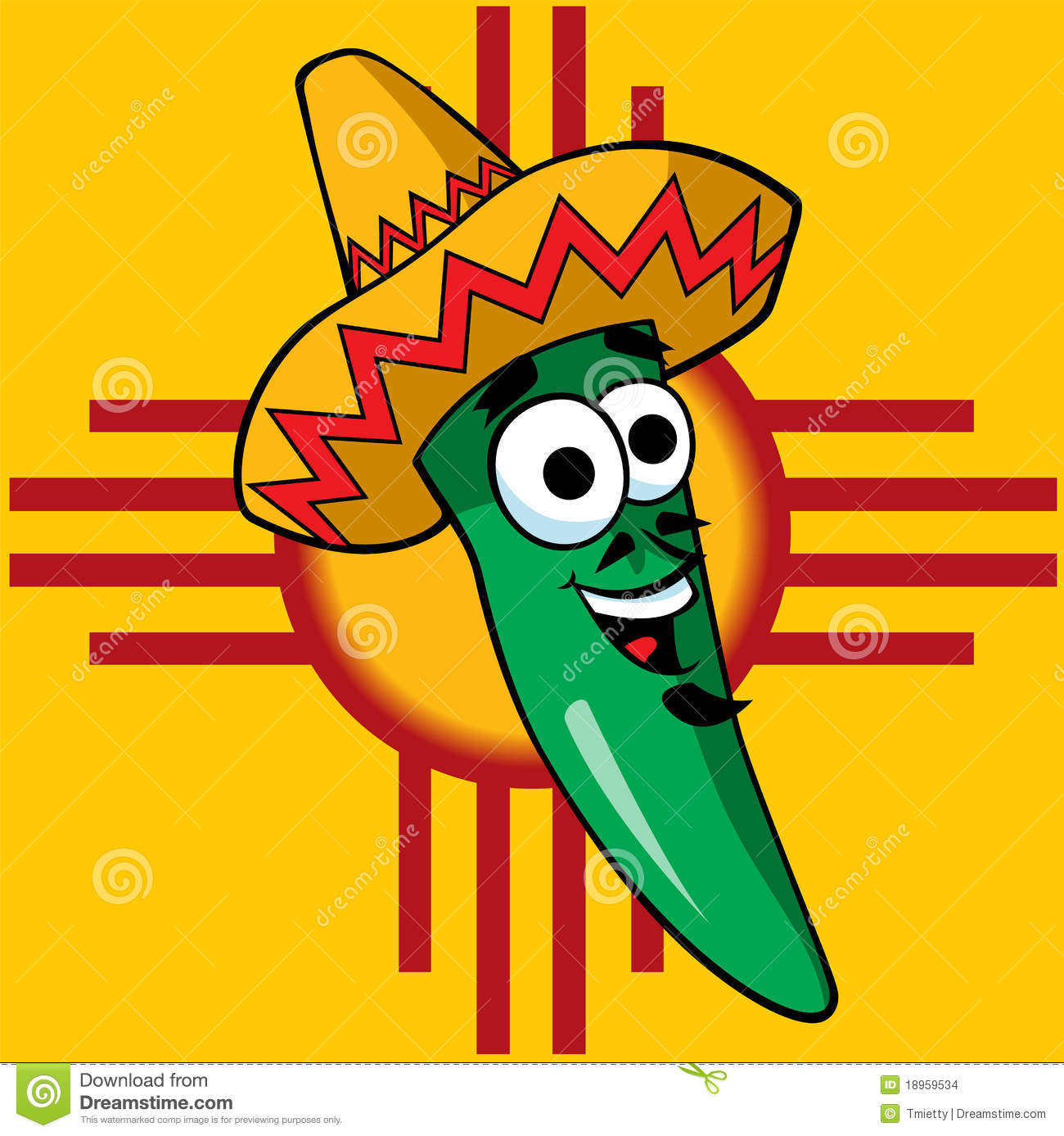 A Happy Green Chili Stock Vector Illustration Of Mexican 18959534