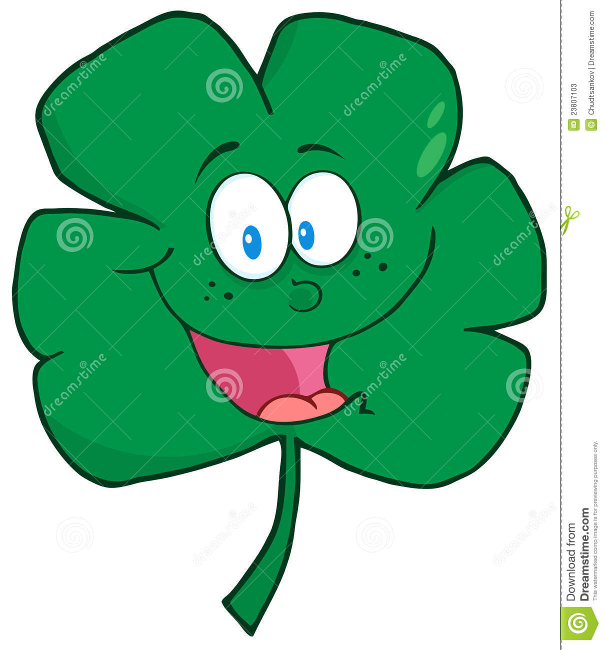 Cartoon Characters Green : Happy green clover cartoon character stock photos image