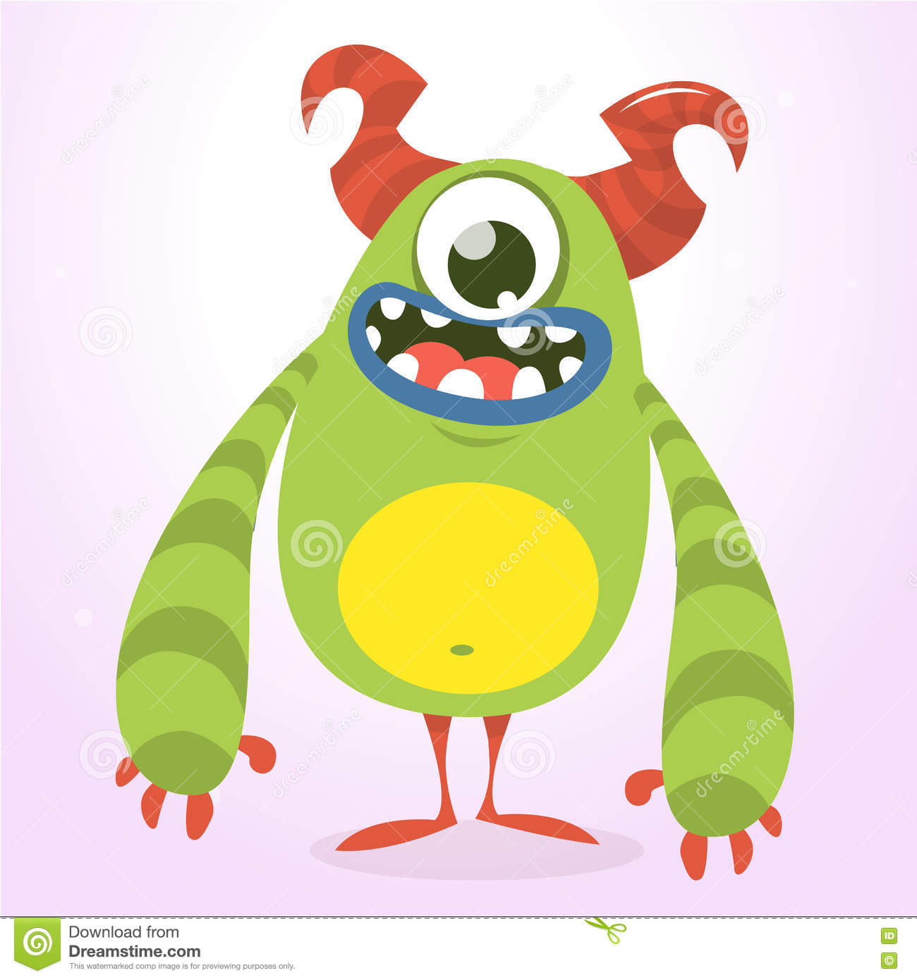 Happy Monster Illustration Happy Green Monster. V...