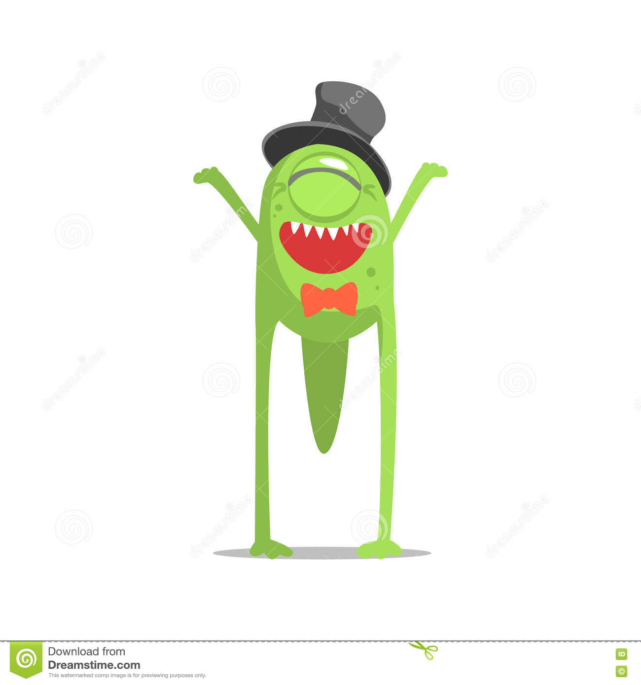 Happy Green One-Eyed Monster In Top Hat And Bow Tie Partying Hard As A Guest At Glamorous Posh Party Vector Illustration