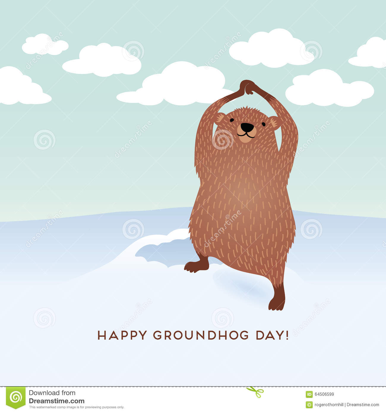 happy groundhog day design with cute groundhog stock vector