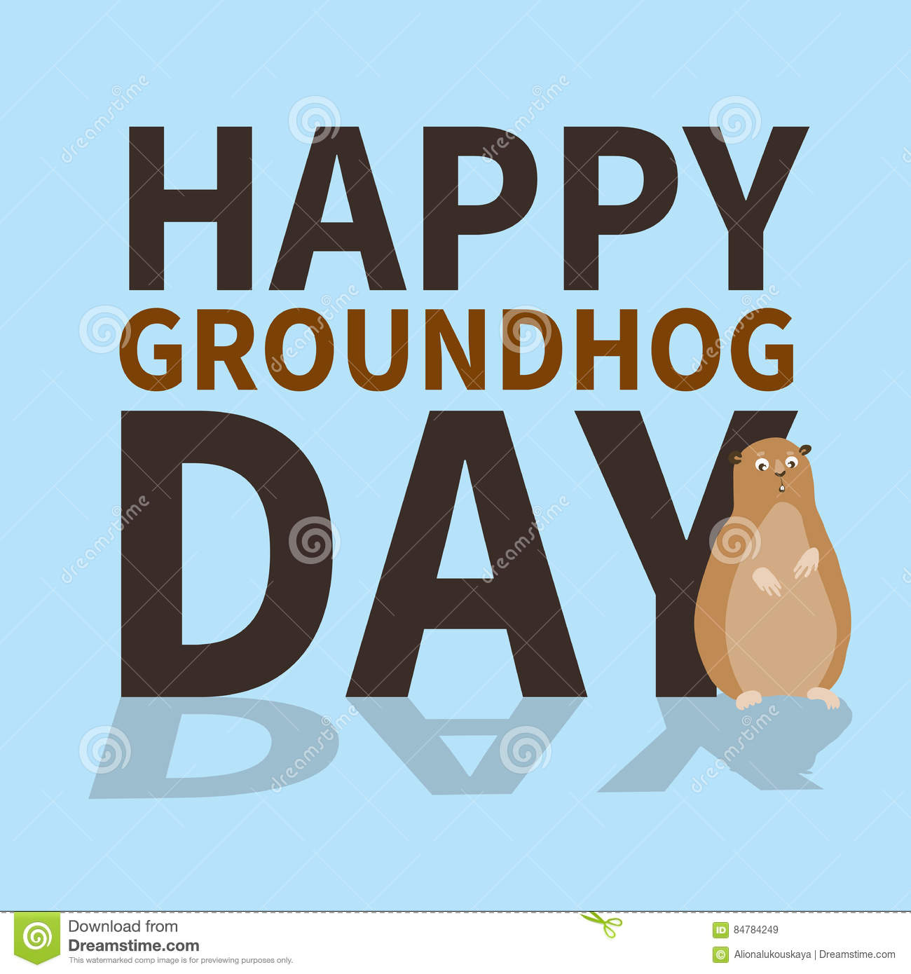 Happy Groundhog Daylogoiconcute Groundhog Is Scared Of His Shadow
