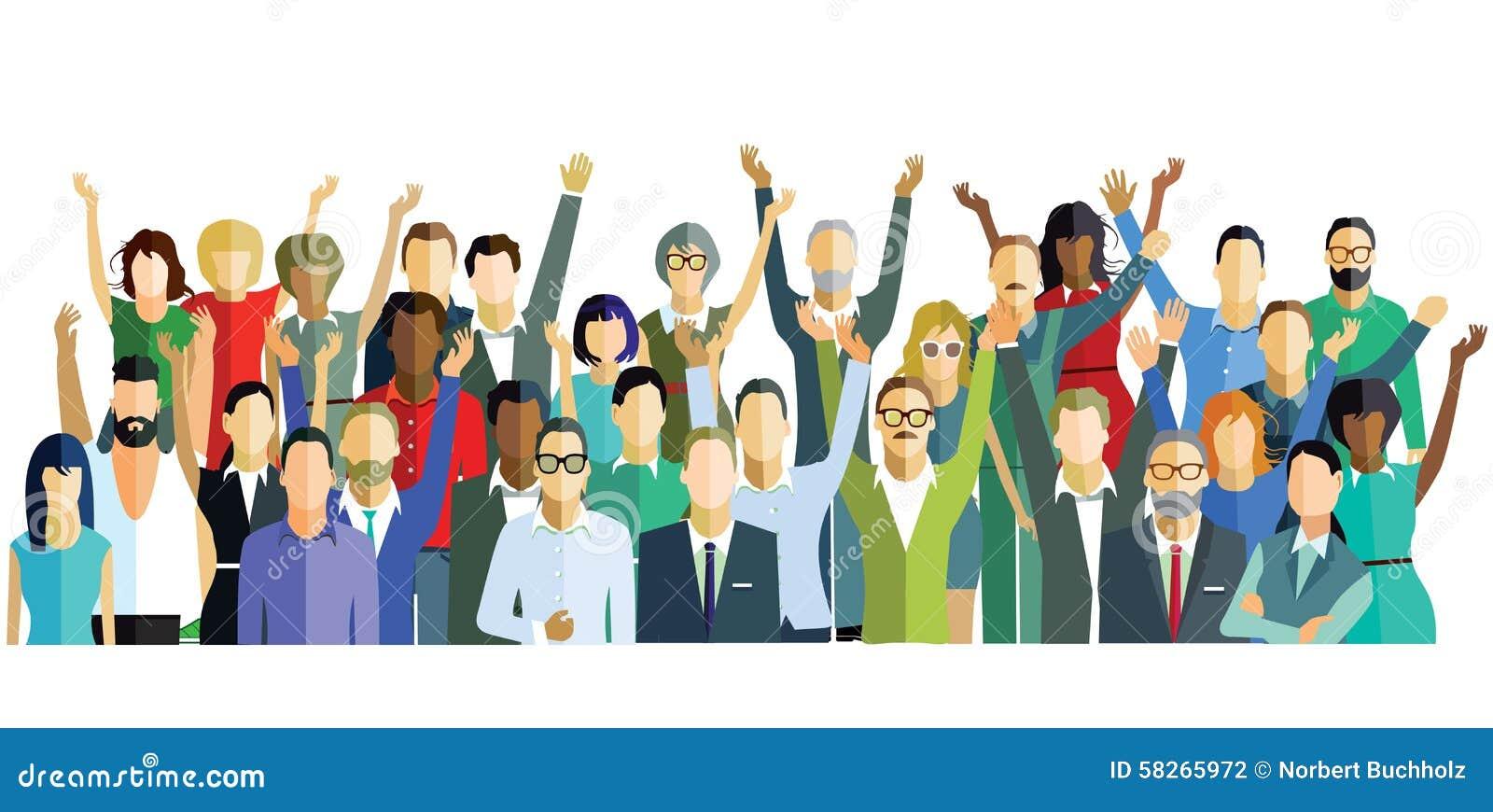 Dieta Pra Ficar mais gordo De modo Saudável happy-group-people-illustration-raising-their-hands-air-joy-happiness-58265972