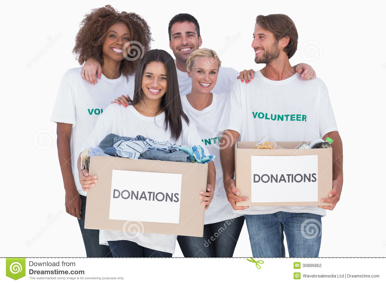 Happy group of volunteers holding clothes donation boxes for Shirts that donate to charity