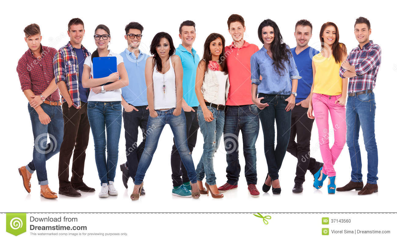 Happy Group Of Young Casual People Standing Together Stock