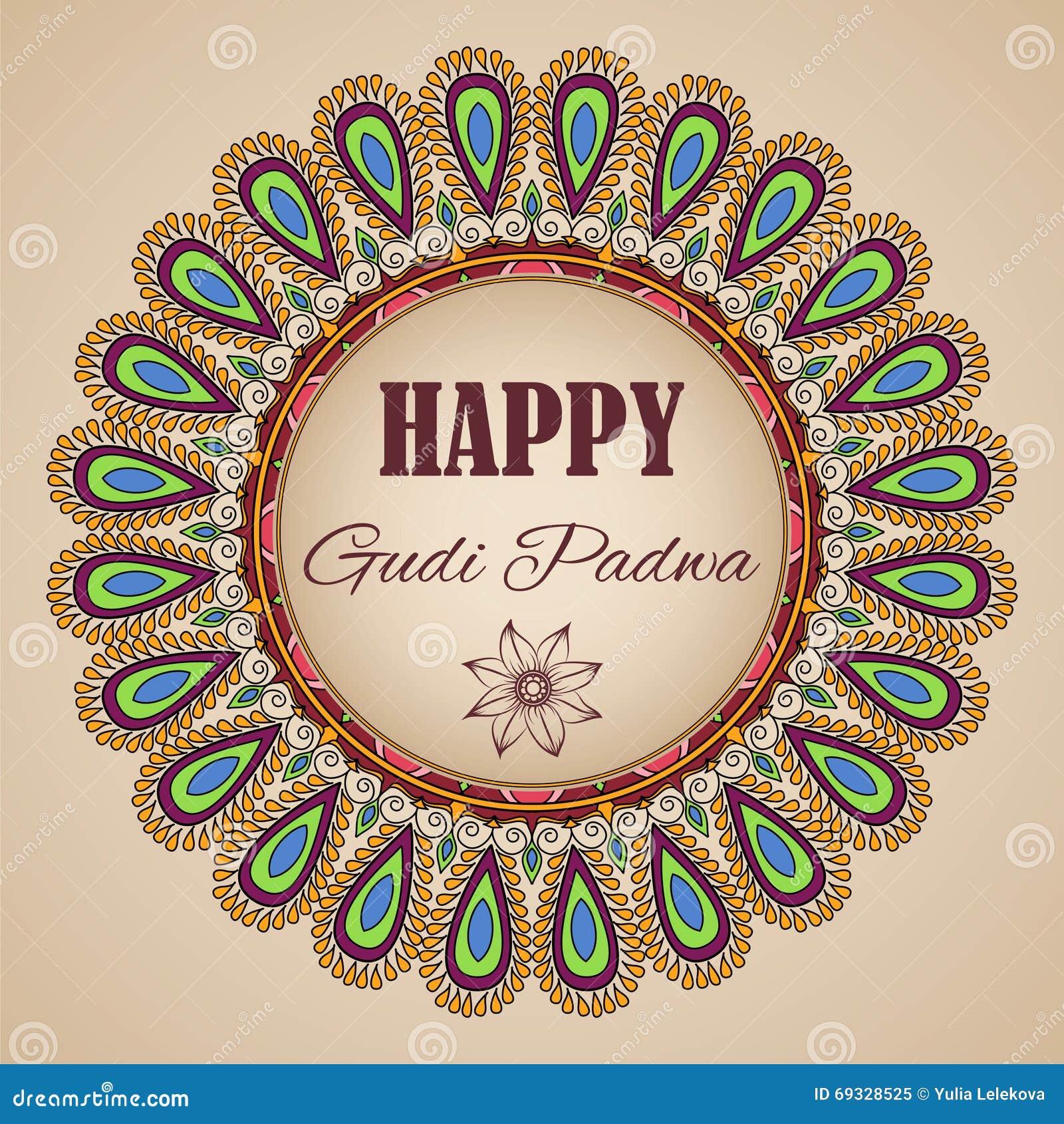 Happy Gudi Padwa Vector Greeting Card With Floral Mandala Frame
