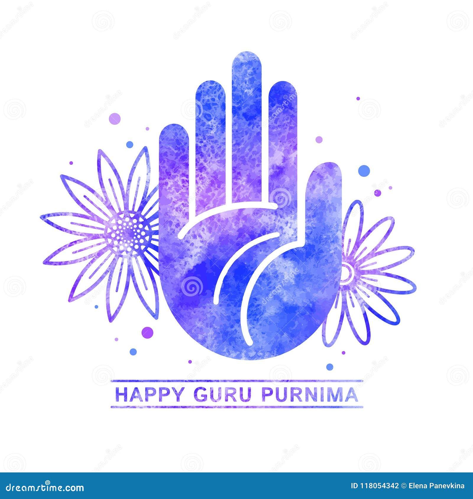 happy guru purnima greeting card watercolor template stock vector