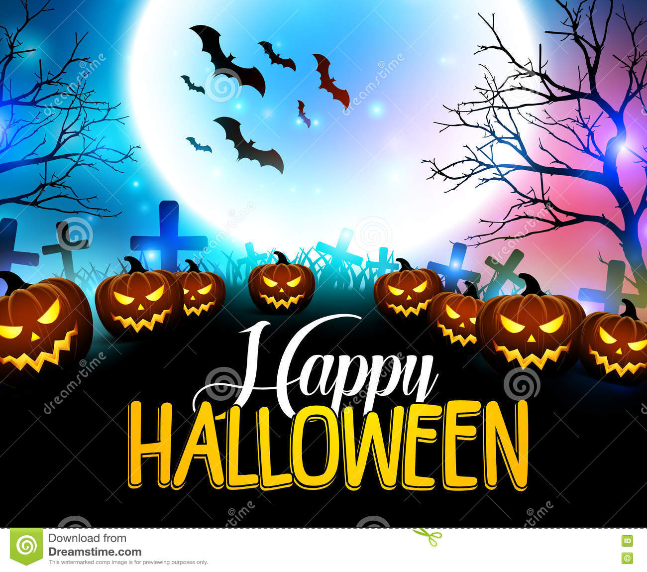 Halloween Achtergrond.Happy Halloween Background With Scary Pumpkins In The Graveyard Stock Vector Illustration Of Laughing Blue 78307534