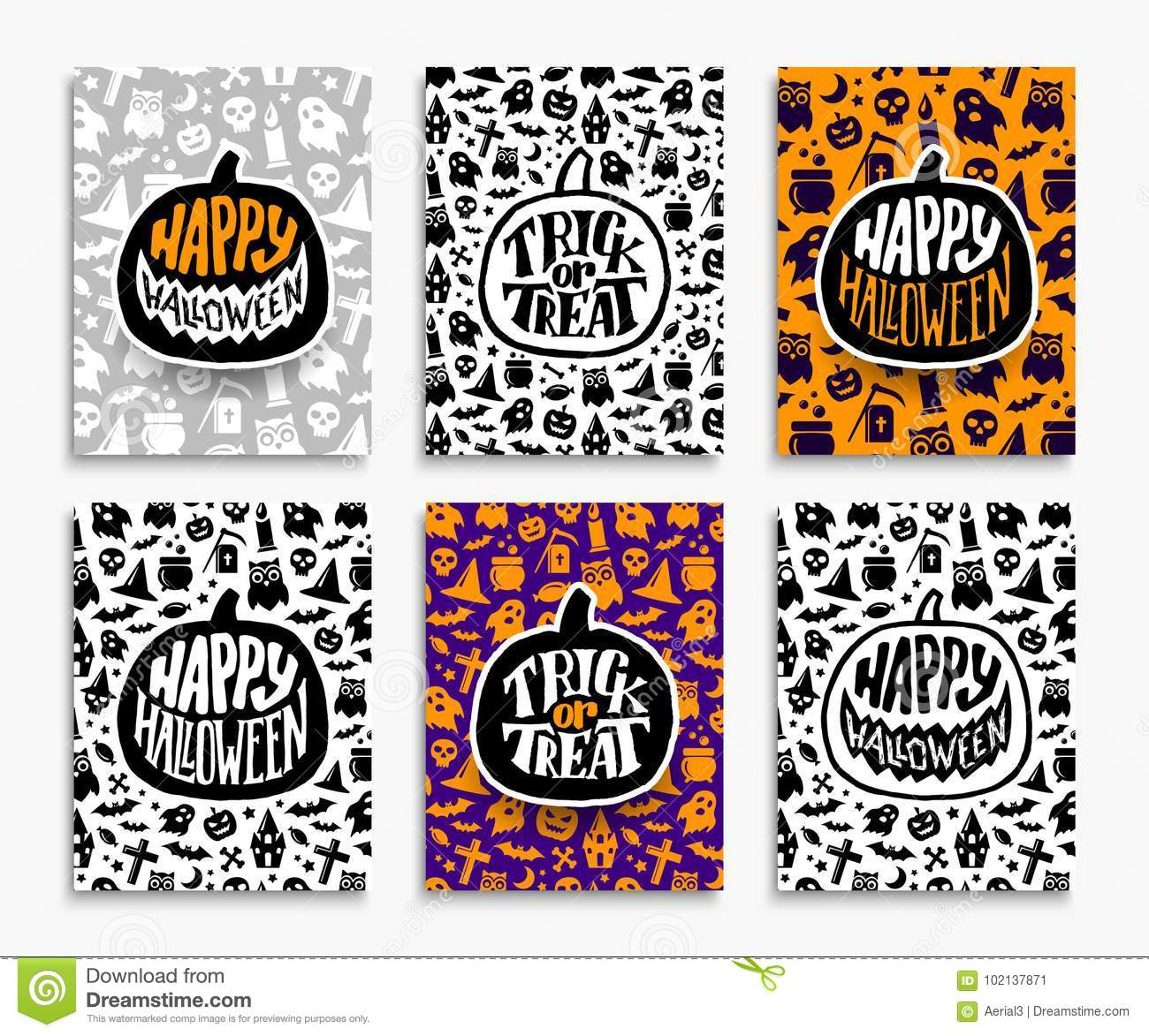 Happy Halloween Greeting Cards Set Stock Vector Illustration Of