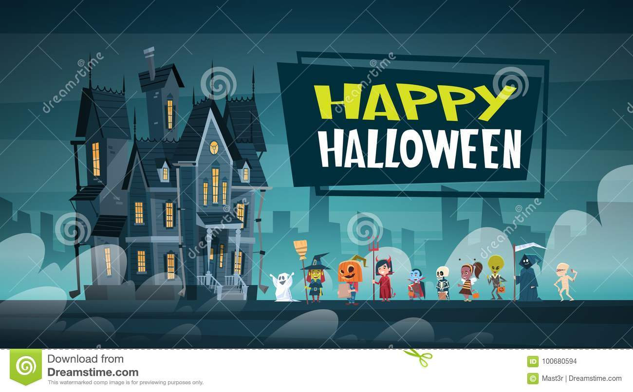 Happy Halloween Banner Holiday Decoration Horror Party Greeting Card Cute Cartoon Monsters Walking To Dark Castle With