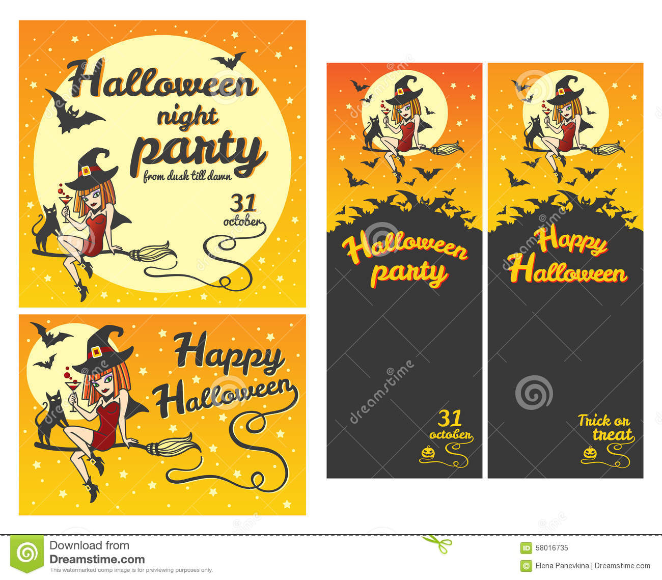 Happy Halloween Greeting Card Or Party Flyer Stock Vector ...