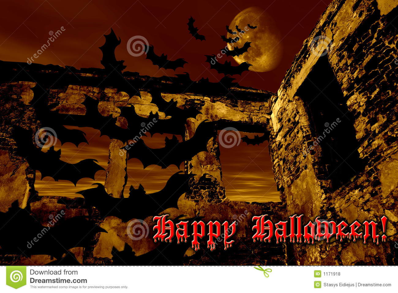 Happy Halloween. Bats are flying over the old ruin