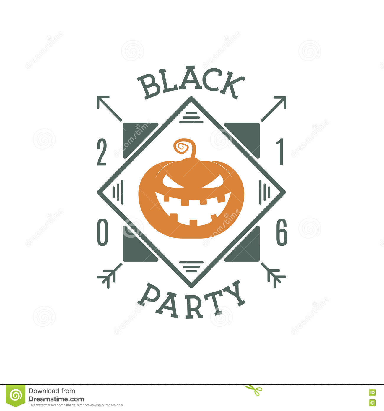 Happy Halloween 2016 black party invitation label. Typography insignia for celebration holiday. Retro badge, logo.