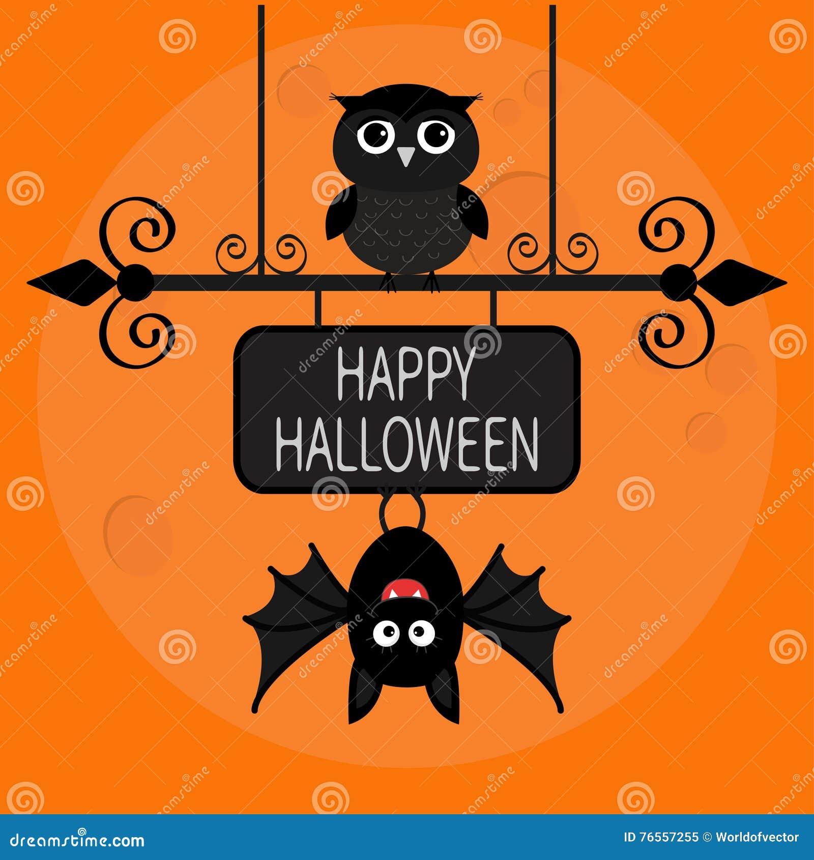 halloween card with a bat cartoon vector cartoondealer cute baby owl clipart baby owl clipart