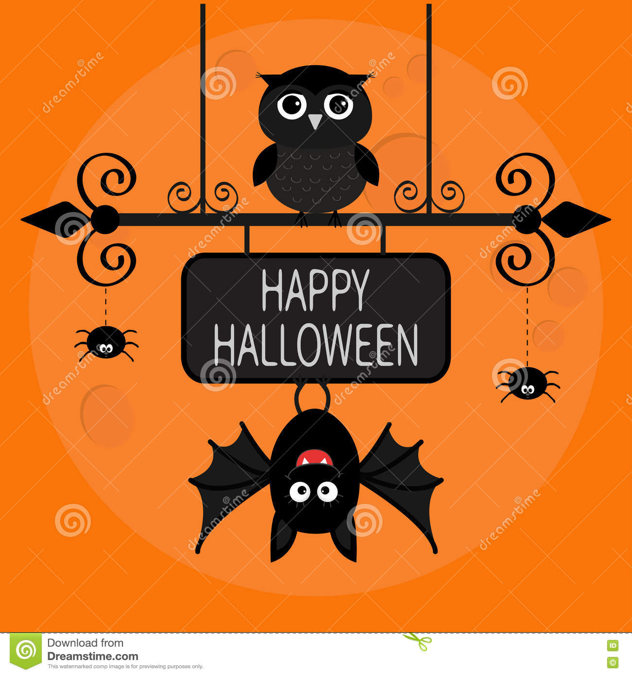 Happy Halloween Card. Bat Hanging On Wrought Iron Sign Board. Owl Bird, Spide...