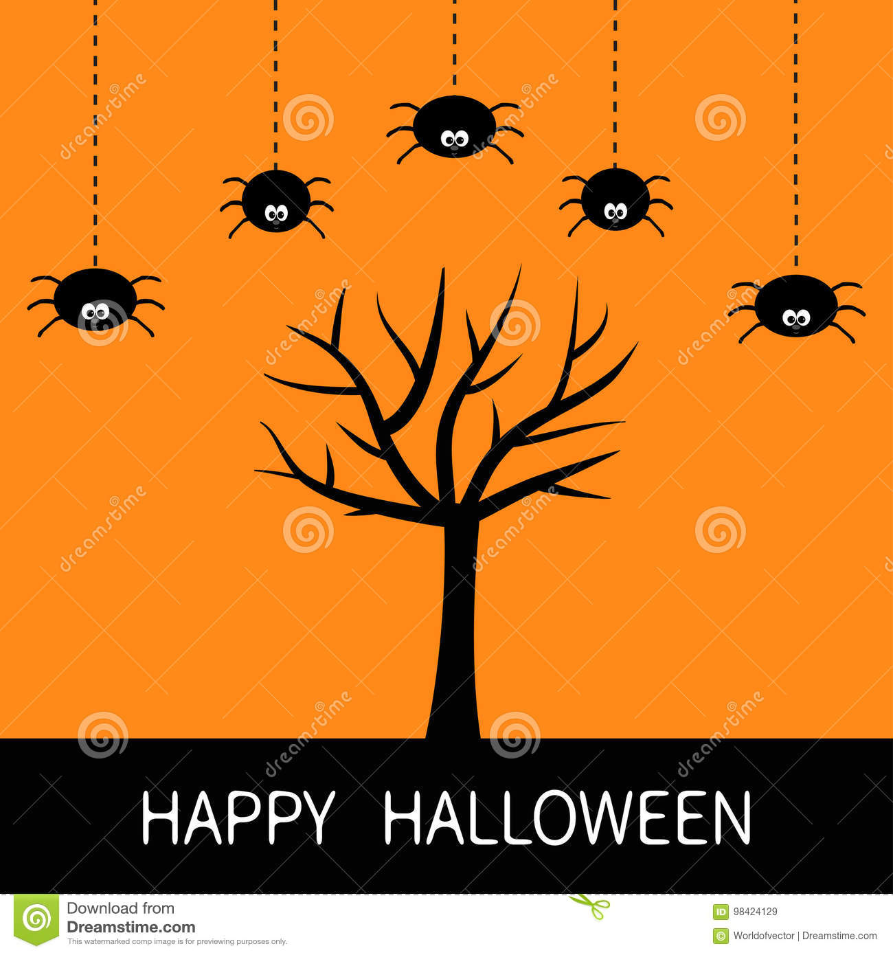 Happy Halloween Card. Black Tree Silhouette. Plant Branch. Spider Hanging  Dash Line. Cute Cartoon Character Set. Spooky. Royalty Free Vector