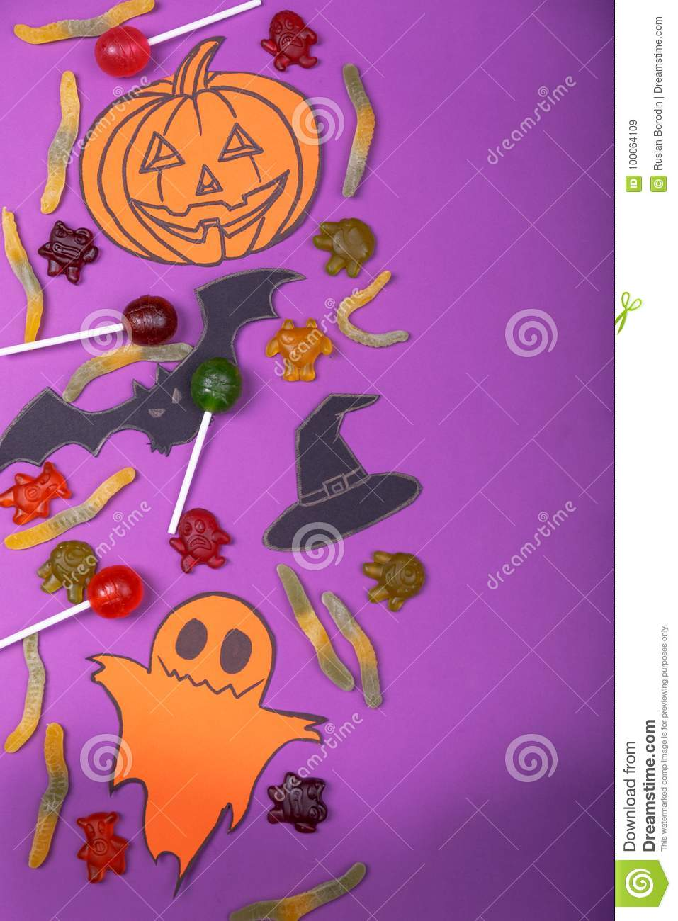 Happy Halloween card concept. Cut out of paper pumpkin for a party design.