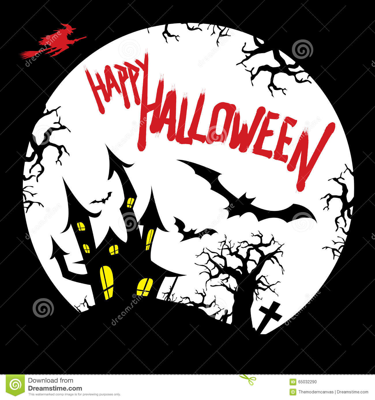 happy halloween card with haunted house stock vector image 26966432