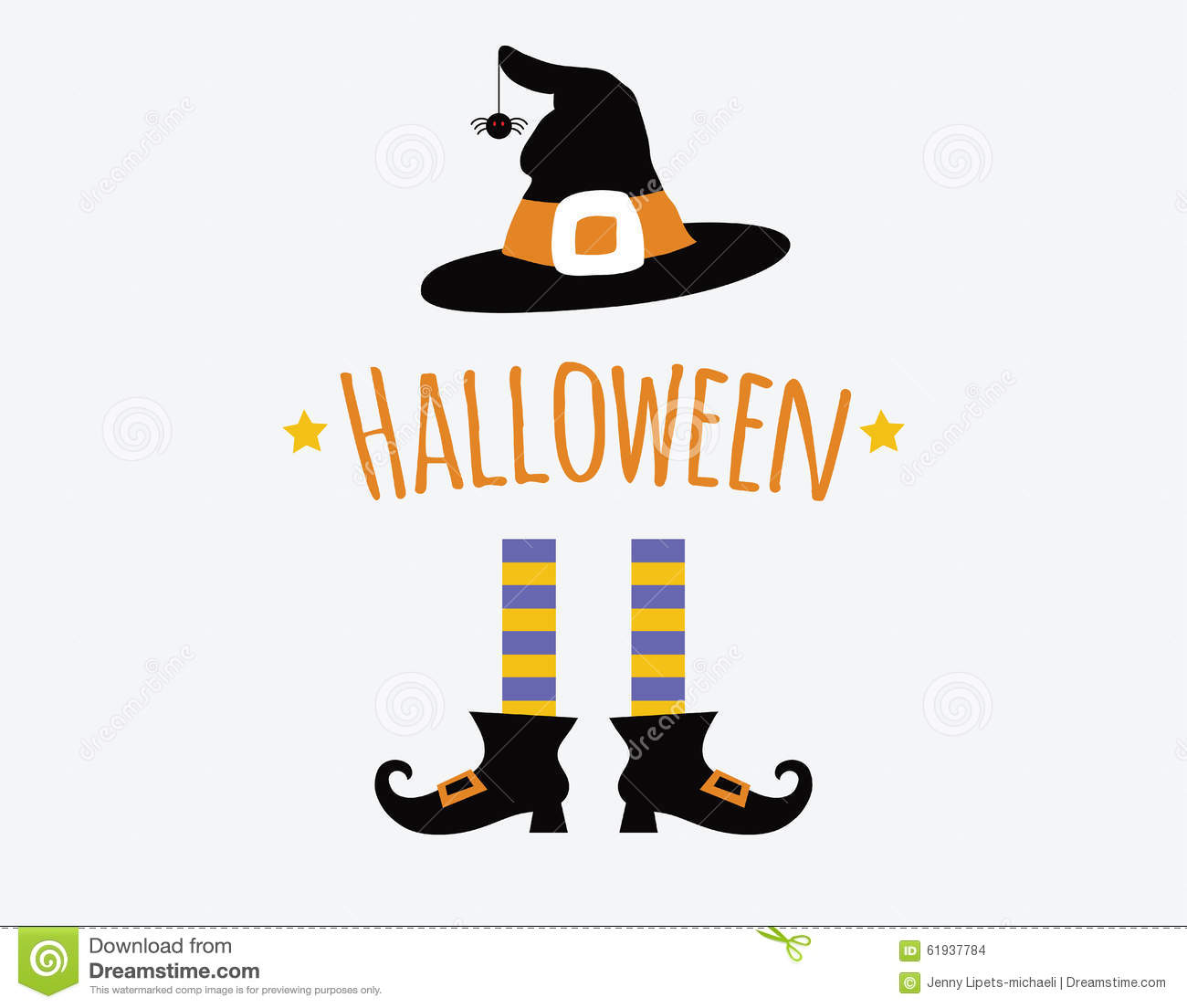 Happy Halloween Card Design With Witch Legs And