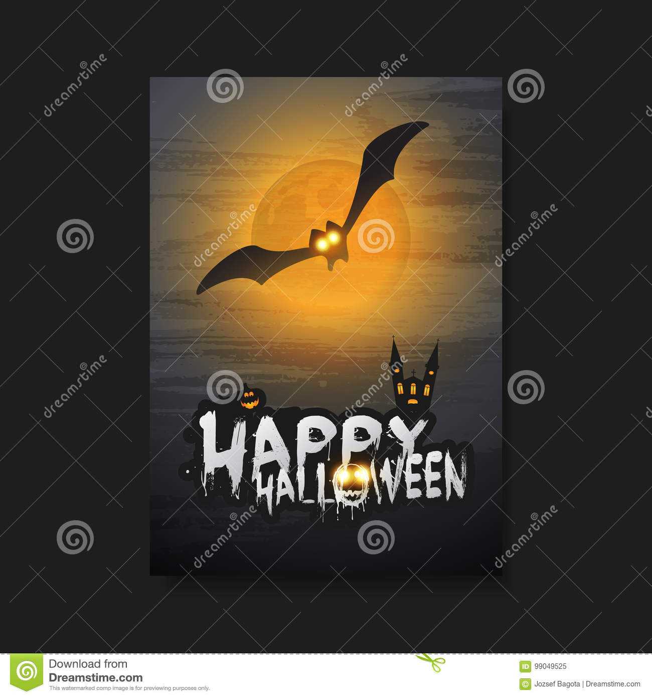 happy halloween card flyer or cover template flying bat over a