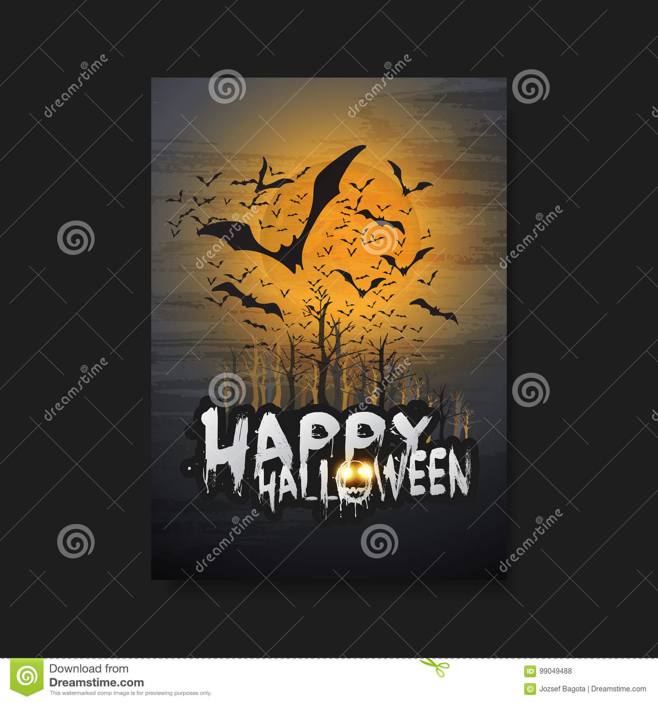 happy halloween card, flyer or cover template - flying bats over the
