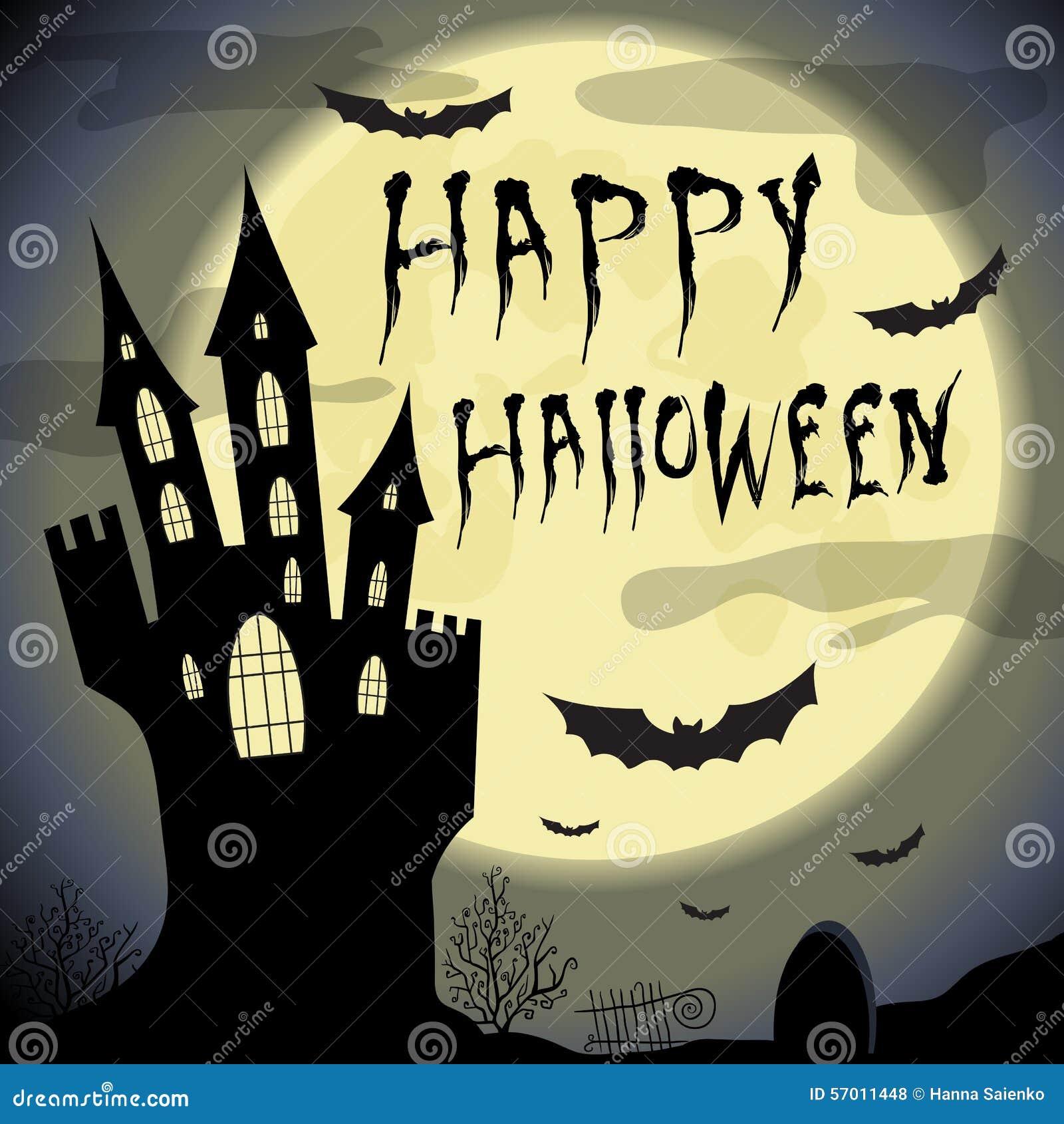 Happy Halloween Card Halloween Template With Haunted