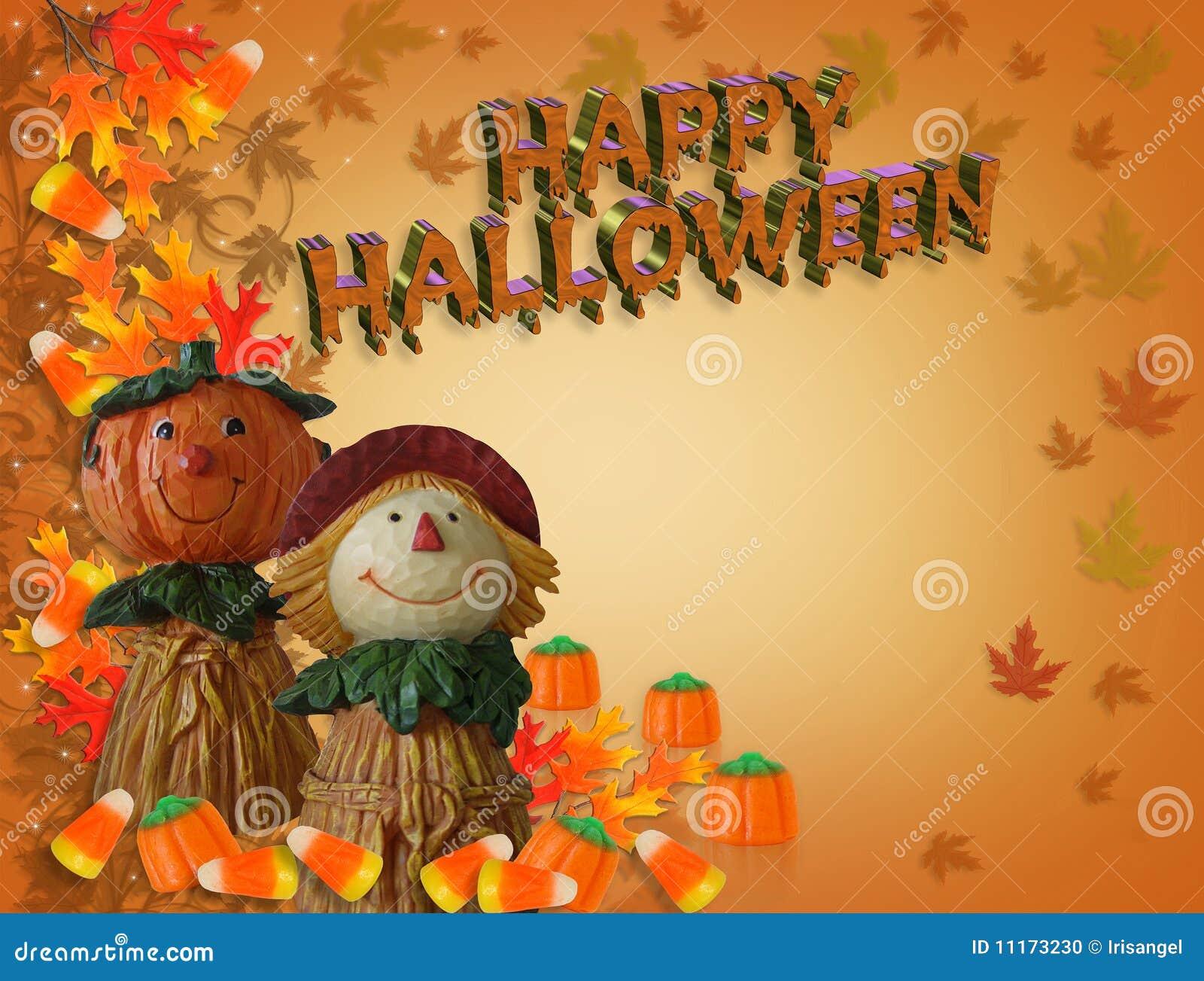 Happy Halloween Card Pumpkin Scarecrow Stock Photo   Image: 11173230